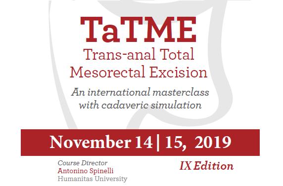 TaTME Trans-anal Total Mesorectal Excision 2019