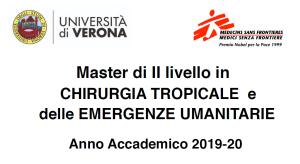 Master di II livello in chirurgia tropicale e delle emergenze umanitarie 2019-20
